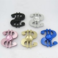 Wholesale Wholesale Sports Signs - Dollar Sign Finger Spinner Fidget Toy Hand Spinner Gadget Aluminium Alloy Metal Fingertip Gyro Toys For Decompression Anxiety + box