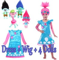 2017 Hot Sale Cosplay Trolls Dress Cosplay Trolls ragazze del partito di Cosplay Party Dress bambini Dimensioni 110-150 In magazzino