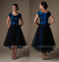 Wholesale Sweetheart Hi Lo Prom Dresses - Royal Blue Black High Low Modest Cocktail Dresses Short With Cap Sleeves Beaded Appliques Lace Appliques Short Front Long Back Prom Dresses