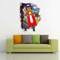 katzeentwurfstapetenaufkleber großhandel-Nette Tiere Katze Radfahren Wandaufkleber DIY Kunst Aufkleber Abnehmbare Tapete Wandbild Aufkleber für Wohnzimmer Schlafzimmer