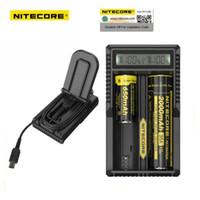 ingrosso carica di ioni di litio-Caricabatteria al litio originale Nitecore UM20 18650 al 100% Display LCD digitale Digicharger per batterie al litio 17500 14500 Li Ricarica