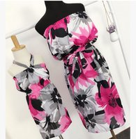 Wholesale Slim Beach Dress Bohemia - Mother and dauther dress girls chiffon floral printed dress womens dew shoulder slim dress bohemia style family beach holiday clothing T4047