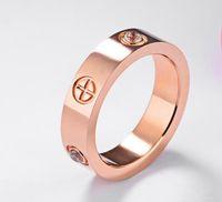 torres de aço inoxidável venda por atacado-Jóias de aço de titânio Europa e nos Estados Unidos mulher contratada conjunto trado de aço inoxidável anel de anel de ouro rosa
