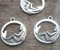 silberner charme anhänger kreis großhandel-15 Stück Mermaid Charm Anhänger 26 x 23mm Kreis Antik Silber Ton