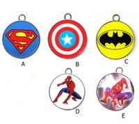 Wholesale Spiderman Charms - New Cartoon Superhero Spiderman Batman Captain America Charm Pendants DIY Jewelry Makin T-030