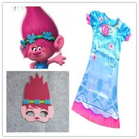 Pretty Girl Trolls Poppy size abito da 110-150 Costumi Bambini festa di compleanno di Cosplay Mask Foresta Dress + Trolls partito Disponibile