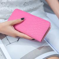 Wholesale South Korean Fashion Dresses - Snake Folding Card Bag Ladies Korea Card Bag Purse Female Long Multi Card Wallet South Korea Students Bag