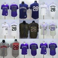 Wholesale Cool White Kids - Factory Outlet Personalize Mens Womens Kids Colorado Rockies 28 Nolan Arenado Green Grey Purple White Flex Base Cool Base Baseball Jerseys