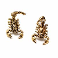 Wholesale Scorpion Stud Earrings - Hot Sale 3 New Ancient Gold Color Sliver Black bizarre Animal Scorpion Stud Earrings For Women Fashion Jewelry brincos 0494