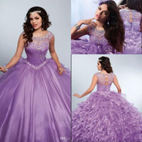 2017 Vintage Rhinestones Quinceanera Dresses Ruffles Bling Jewel Neck Sweet 16 Маскарад Бальное платье Organza Lavender Crystal Prom Dress