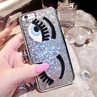 Wholesale Cover Follows - Hot Luxury 3D Sequins Following Flirting Eyes Capa Hard Plastic Phone Cases Cover For iPhone 7 7Plus 5 5G 5S SE 6 6S 6Plus 5.5