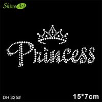 Wholesale White Letter Transfers - Free shipping Princess crown designs iron on transfer hot fix rhinestone rhinestone iron on transfers designs DIY DH325#