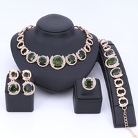 Wholesale Dark Green Jewelry Sets - Gold Color Green Zircon Crystal Jewelry Sets For Women African Wedding Necklace Earring Bracelet Set Charm Accessories