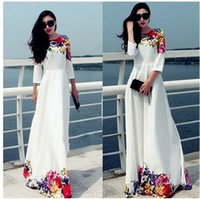 Wholesale Lady S Long Floral Dress - Fashion Women Sexy Long- Sleeve Dress Evening sexy Party long Dress Summer Autumn Women Casual Dresses Ladies Fashion O-Neck Loose DressTops