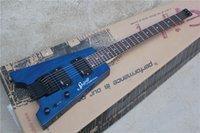 Wholesale String Body Bridge - Custom Shop Blue Steinberger Spirit Headless Electric Guitar Without Headstock EMG Pickups Tremolo Bridge Top Selling