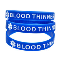 Wholesale Medical Blood - Wholesale Shipping 100PCS Lot Blood Thinner Silicon Wristband Ink Filled Colour for Medical Advertisement Bracelets