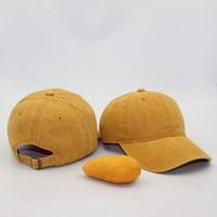 Wholesale Brim Hat Men - 2017 mango yellow solid bar as the old washing ball cap and Han Chao men and women soft top hat brim bent peaked cap