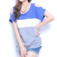 Wholesale Strapless Loose Tops - Wholesale-2016 Summer New Women's Fashion Tops Loose Strapless Bat Sleeve Casual Striped Short-sleeved T-shirt