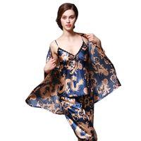 Wholesale Sleepwear Pants Women - 3 Pcs set Luxury Silk Women Pajama Robe Pants Fashion Ladies Sleepwear Long Sleeve Female Camisole Nightgown Sets Print Dress 5 Colors