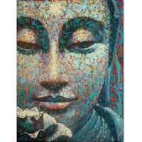 Wholesale Dafen Oil - Dafen Painter Team Directly Supply High Quality Abstract Buddha Portrait Oil Painting on Canvas Abstract Colors Buddha Painting