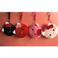 Wholesale Choice Cartoon - 4Colors Choice, NEW 8CM Hello Kitty Coin BAG , Children Girl's Plush Coin Purse BAG Pouch ; pendant small Coin Wallet Pouch bag
