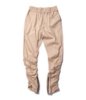 Wholesale Khaki Korean Pants - Korean Hip Hop Fashion Pants With Zippers Factory Connection Mens Urban Clothing Joggers Fear of god Men Pants