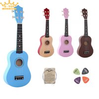 """Wholesale Ebony Pick - Wholesale-21"""" four colour Ukulele Beginners Children Christmas Gifts Hawaii Four String Guitar +String+Pick"""