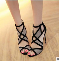 Stiletto Heel black suede stilettos - South Korea fish lips sexy high heeled sandals female summer color matching joker cross bind the new hollow out peep toe stilettos