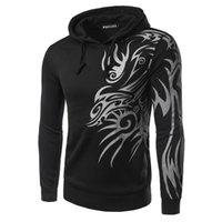 Wholesale Tattoo Dragon New - Wholesale-Men Boy Mens Fashion Hooded Tattoo Dragon Printed Pullover Sweatshirts Casual Coat Hoodies Hoodie 2017 New Arrival