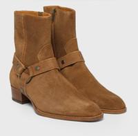 siyah deri kovboy çizmeleri toptan satış-Adam Moda Slp Klasik Wyatt 40 Demeti Çizmeler Siyah Deri Kişiselleştirilmiş erkek Martin Çizmeler Kovboy Çizmeleri Boyutu 46