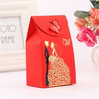 50pcs Candy Favor Cajas Red Rectangle Wedding Supplies Favor Regalos Papel para Decoración de Mariage