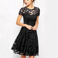 Wholesale Evening Night Dress - Newest Women's Lace Dresses with Short Sleeve Floral Printed Mini Dress Lady's Evening Party Dress ZL3027
