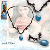 Wholesale Costume Jewellery Wholesalers - 2.5X3.5CM Animie Polynesia Princess Moana Necklaces Girls Movie Cosplay Costume Charm Necklace Handmade Braided Leather Rope Necklace - CX