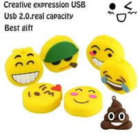 Wholesale Pendrive Real 8gb - 2017 new arrived USB 2.0 stick real capacity Emoji emotion expression USB flash drive 32gb 64gb128gb memory Stick Pendrive