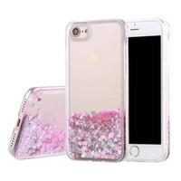 Wholesale Tpu Case Iphone Heart - 3D Liquid Case For iPhone 7 Plus Glitter Quicksand Case Soft TPU heart Bling Bling Case For Iphone 6s Plus with opp Package