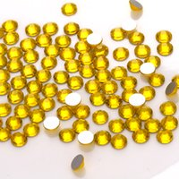 Wholesale All Sizes Lt Siam Lemon yellow Color Nail Art Rhinestones SS3 SS30 Non Hot Fix Glue on Glass Crystal Flatbacks beautiful Crystal material