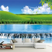 Wholesale Visions Painting - Grassland landscape wallpaper murals living room sofa TV backdrop wallpaper large 3D seamless non-woven fabric Vision expansion painting