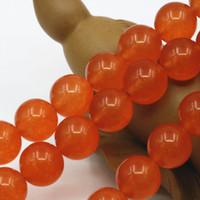 ingrosso gioielli di pietre arancioni-4mm 6mm 8mm 10mm 12mm Arancione Giada Pietra di Cristallo Branelli Allentati Rotondi Jasper Jade Fai Da Te Di Natale Ragazze Regali 15 pollici Monili Che Fanno