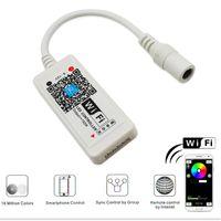 controlador conduzido rgb do andróide venda por atacado-LED Wifi Controlador DC 5-28 V WiFi Mini Luz LED RGB Controlador Por Android e IOS APP para SMD 3528 5050 LED Luz de Tira
