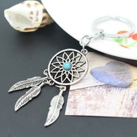 Wholesale Turquoise Drop Sell - Fashion ornament selling dreamcatcher tassel turquoise key ring jewelry wholesale