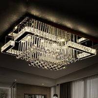 Wholesale Stainless Steel Kitchen Lights - 2016 modern luxury Pandant light rectangular LED K9 crysal chandelier ceiling mounted crystal fixutres foyer chandeliers for living room