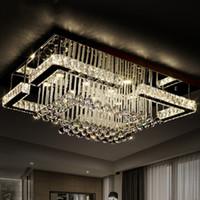 Wholesale Crystal Lighting For Bedroom - 2016 modern luxury Pandant light rectangular LED K9 crysal chandelier ceiling mounted crystal fixutres foyer chandeliers for living room