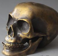 ingrosso scultura buddista-15CM Buddismo tibetano cinese Pure Bronze Human Skull Head Statue Sculpture