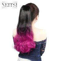 Wholesale Synthetic Feather Extensions - Hot Sale 22inch Synthetic Straight Long Ponytail Rose# Feather Hair Highlight Extensions Straight Hair Weaves Synthetic Hair Ponytails