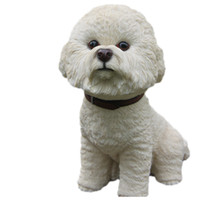 Large Bichon Frise Dog Siting Statue Figure da collezione 7,4