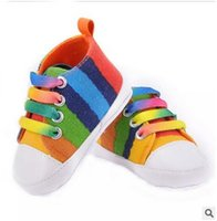 Wholesale Girls Canvas Shoes Floral - Kids sneakers baby boys girls first walkings toddler kids lace-up rainbow floral plaid printed casual shoes baby canvas sneaker T5027