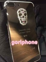 Wholesale Barred Iphone - Real Gold skeletonPlating Back Housing Cover Skin Battery Door For iPhone 7 7+ Compatible Brand and Bar Design Customization for iphone 7 24