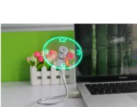 Office Desktop Smart USB Time LED Fan de reloj con luz LED Mini Flexible Cool Gadget con paquete de venta por menor