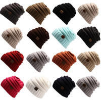 Wholesale Mens New Woolen Caps - Christmas 2016 New Mens Women Winter Knitted Woolen Hat Handmade CC Label Fedora Luxury Hats Fashion Beanies Thick Warm Hat Outdoors 2006