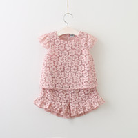 Wholesale Shirt Jumper Set - 2017 Childrens Lace Outfits Baby Girls Lace Jumper T-shirts with Floral Lace Short Pants Babies Fashion Summer Sets